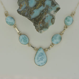 Larimar 5 Stone Necklace  13.5g