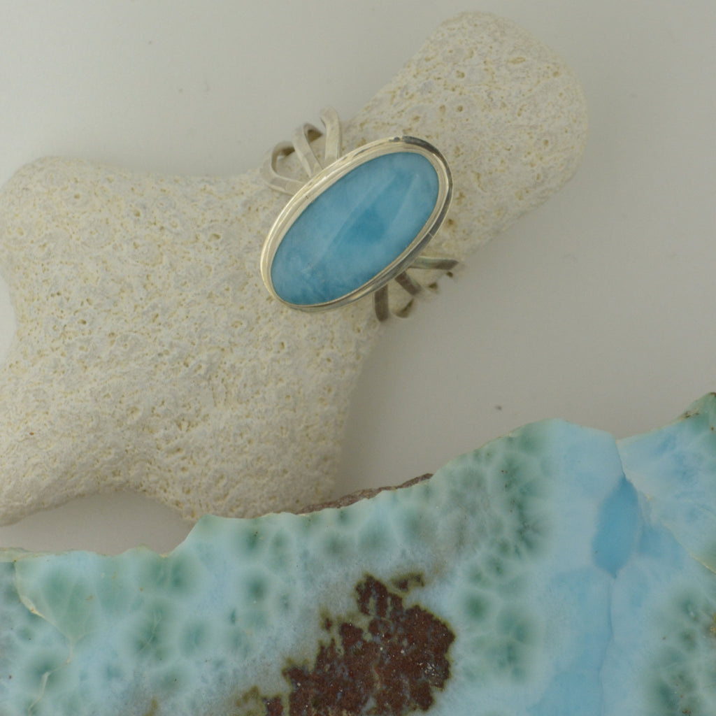 Small Larimar Ring   Size  7       3.6g
