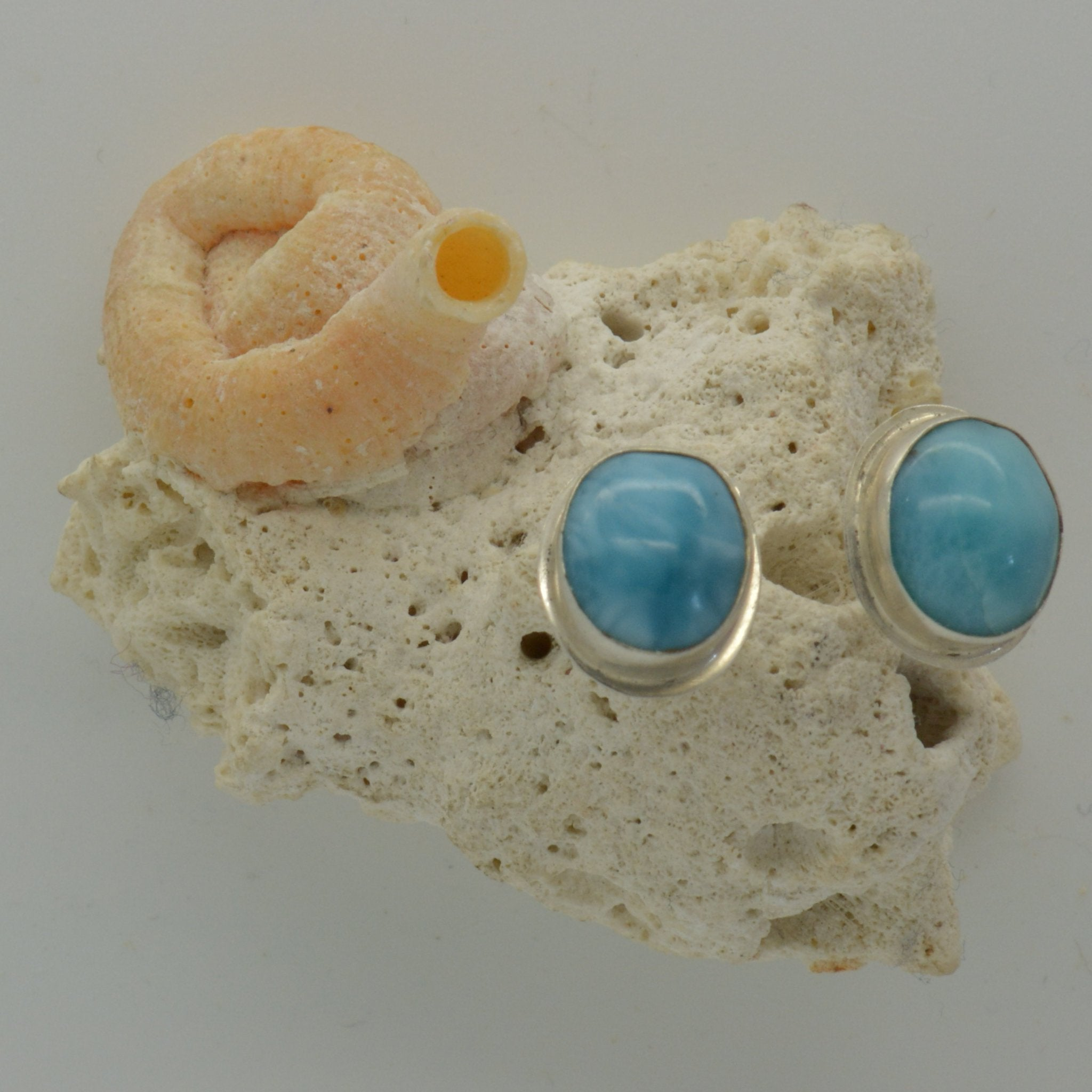 Small Larimar Stud Earrings in Oval 2.8g