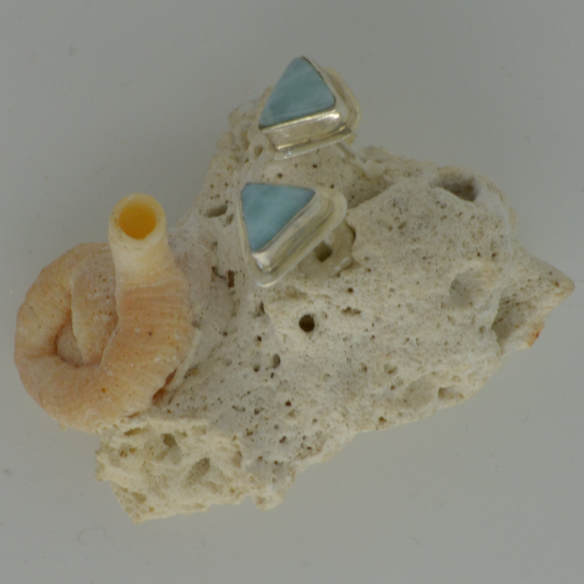 Small Larimar Stud in Triangles 2.5g