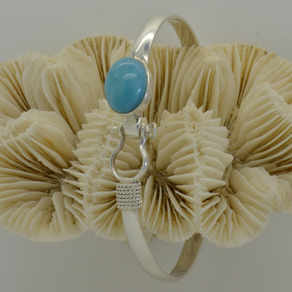 Larimar Shackle Bangle with Oval Stone 14.5g