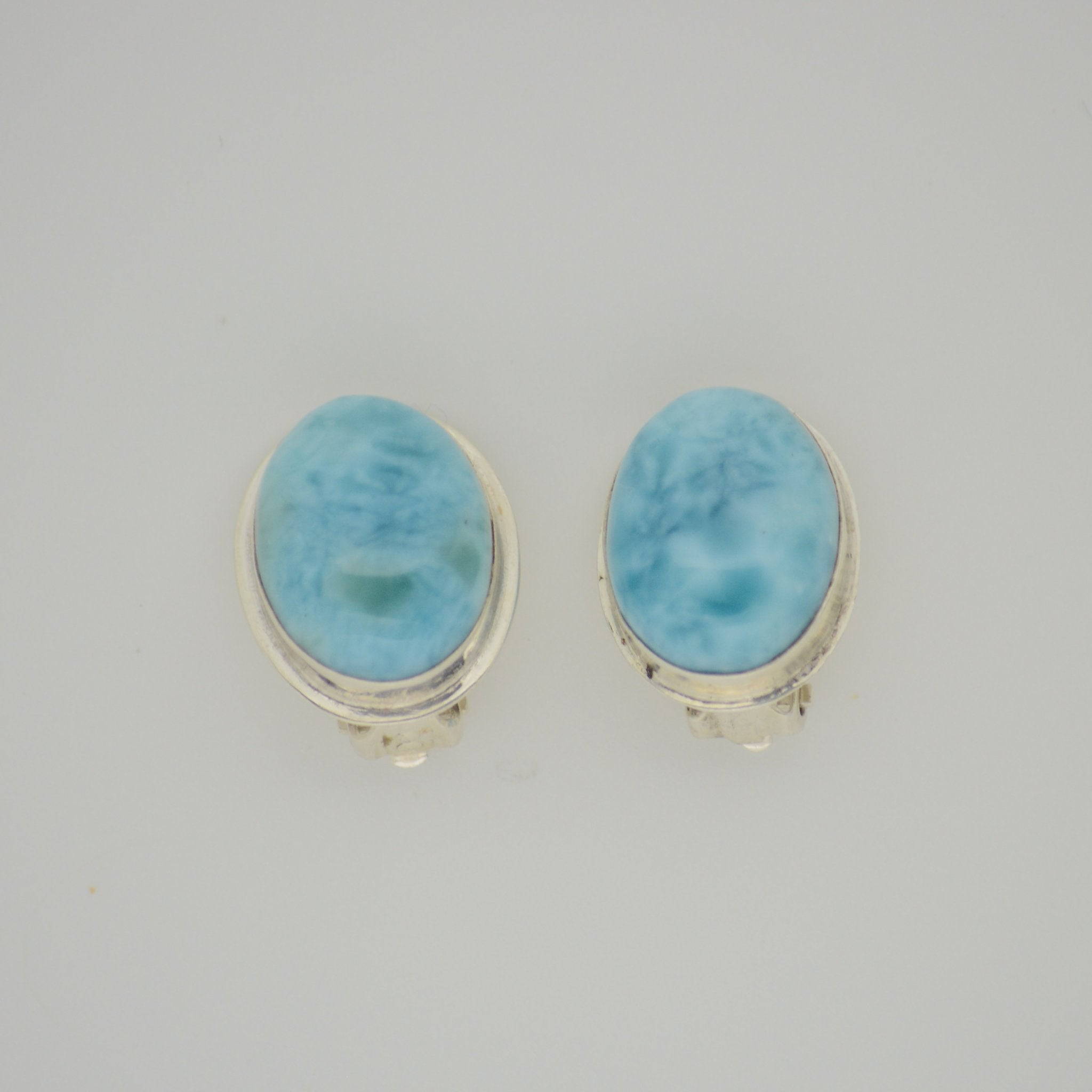 Larimar Clip on Earrings 8.7g