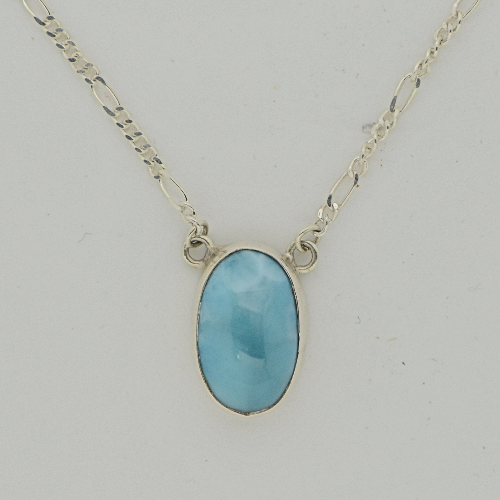 Medium One Stone Larimar Necklace  9.3g