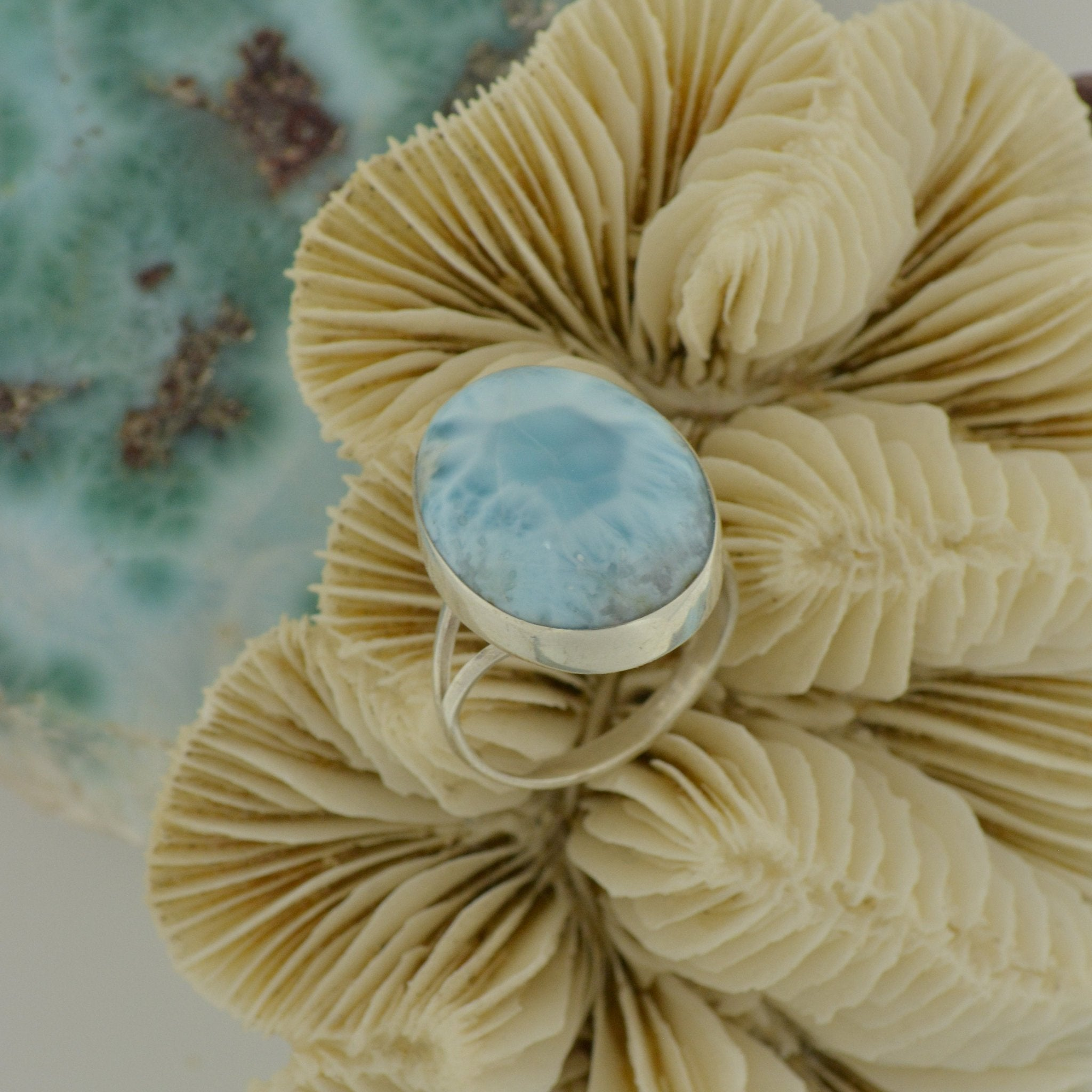 Large Larimar Ring Size 7.5   7g