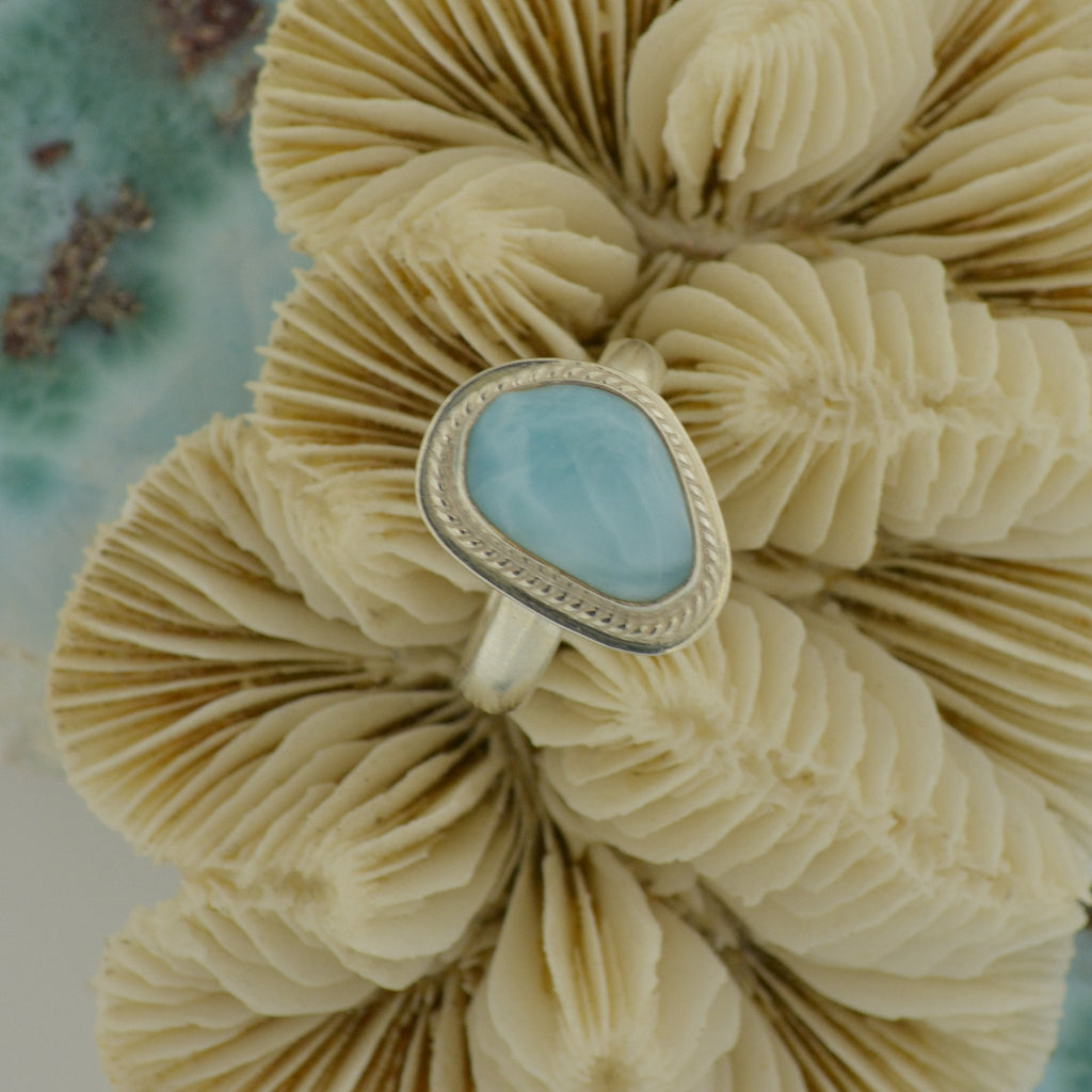 Medium Larimar Ring Size 8   7.4g