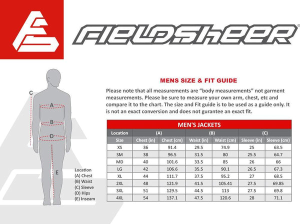 2017 Fieldsheer Motorcycle Jacket Size Chart Mens