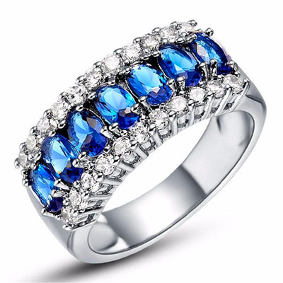 AAKH650G 10KT White Gold Filled Sapphire Vintage Styled Ring