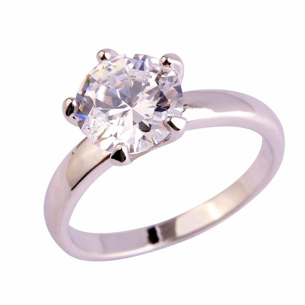 AJXUSTZ1 18K White Gold Plated White Topaz Ring