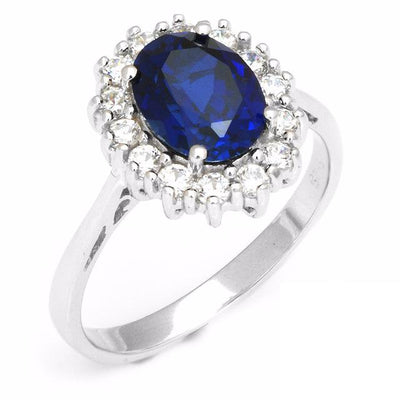 B35TG5YE 925 Sterling Silver 2.5ct Blue Sapphire Kate Middleton Replica Ring
