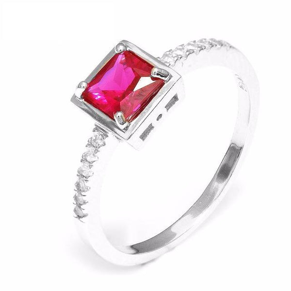 B57OQUJI 925 Sterling Silver 0.8ct Pigeon Blood Red Ruby Ring
