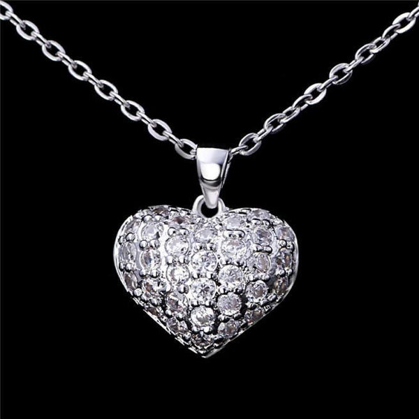 A4HV 925 Sterling Silver Heart CZ Necklace
