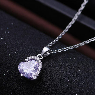 ATAL 18K Gold Plated 925 Sterling Silver Purple Amethyst Heart CZ Necklace
