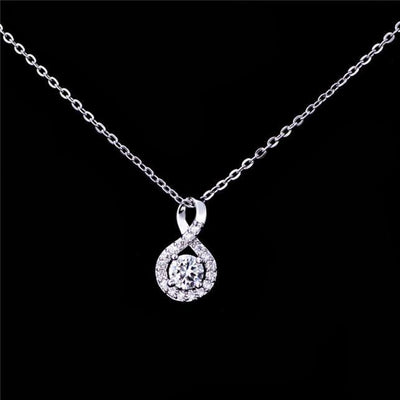AUKE 18K Rose Gold Plated 925 Sterling Silver White CZ Necklace