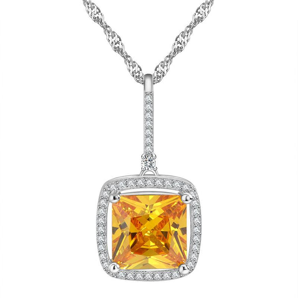BB7U 925 Sterling Silver Yellow CZ Necklace