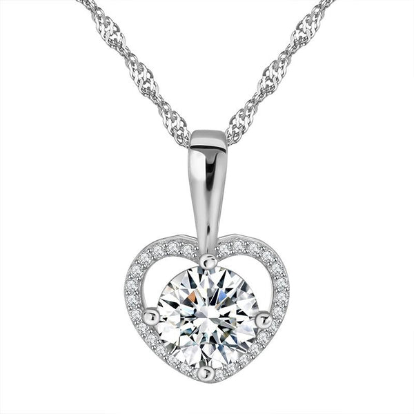 BEK5 925 Sterling Silver Heart CZ Necklace