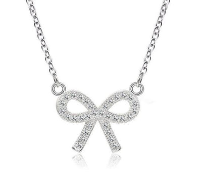 BKKN 925 Sterling Silver Bow CZ Necklace