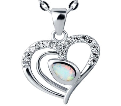 BPJN 925 Sterling Silver Heart Opal & CZ Necklace