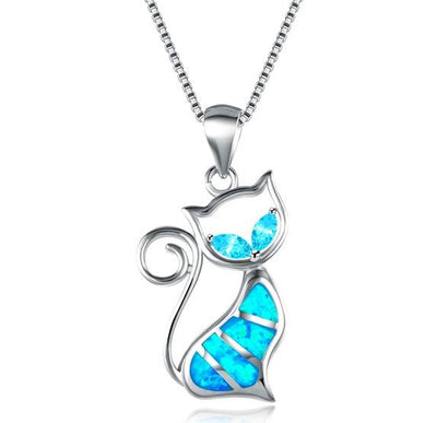 C2MH 925 Sterling Silver Fire Opal and CZ Cat Necklace