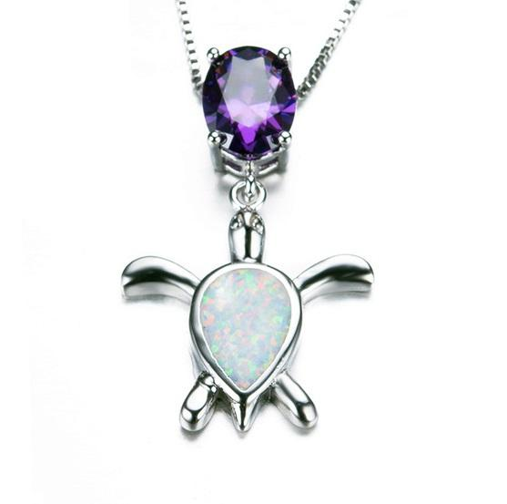 C32D 925 Sterling Silver Opal & Purple CZ Turtle Necklace