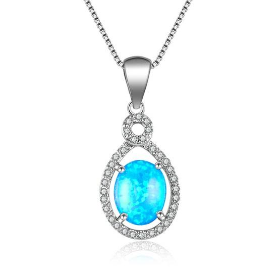 C7GP 925 Sterling Silver Blue Opal CZ Necklace
