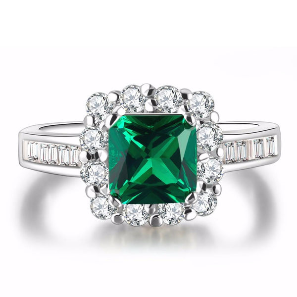 C8OVDWU5 White Gold Plated Square Emerald Ring