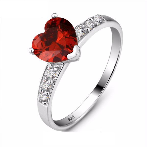 CAI5D2ZM 925 Sterling Silver Red Heart Cut CZ Ring