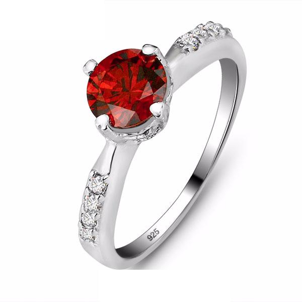 CFXVL92N 925 Sterling Silver Red Ruby CZ Ring