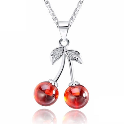 CLSL 925 Sterling Silver Red Cherries CZ Necklace