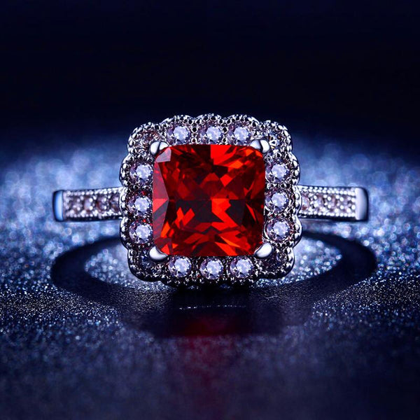 CRE63RW4 White Gold Plated Square CZ Ruby Ring