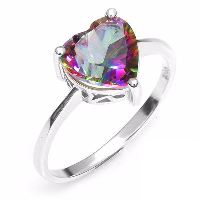 CUWLX4AE 925 Sterling Silver Rainbow Topaz Heart CZ Ring