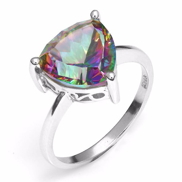 CY4F715J 925 Sterling Silver Rainbow Topaz Triangle CZ Ring