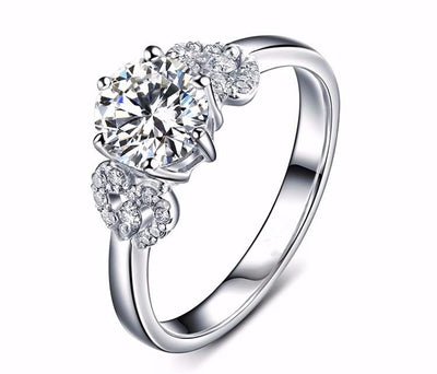 DFX6VSEE Platinum Plated Round CZ Ring