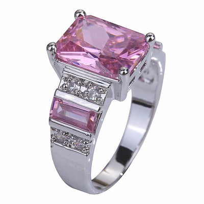BB6KQWBE Silver Plated Pink Topaz Ring