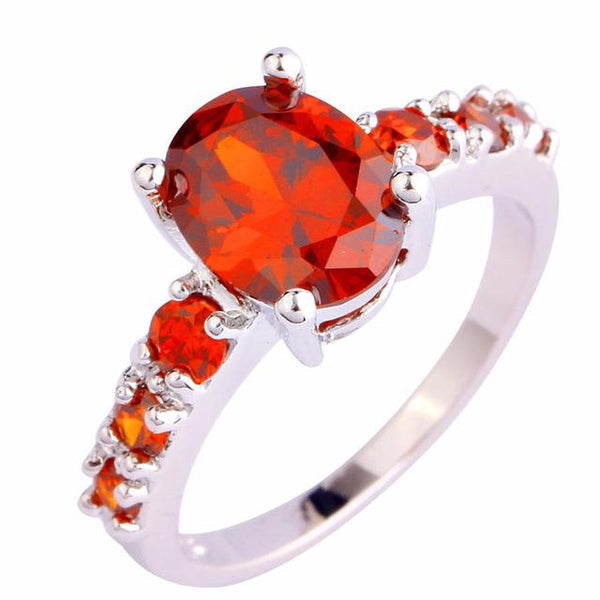 BMYEOK1H Silver Plated Oval Red Garnet Ring