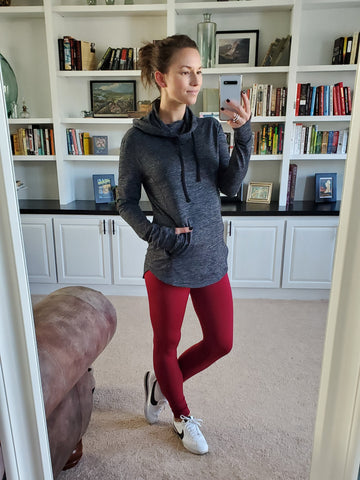 athleisure outfit idea, burgundy fleece lined leggings, charcoal active hoodie with zippered pockets