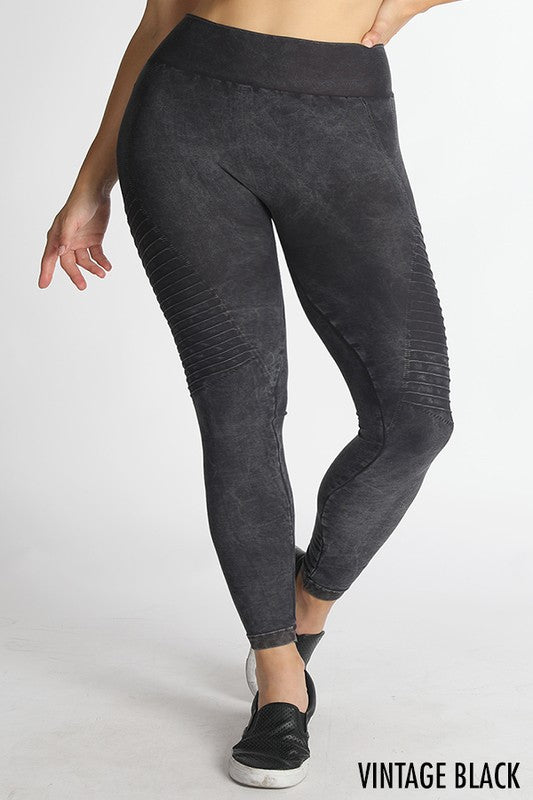 Plus Size Vintage Moto Leggings