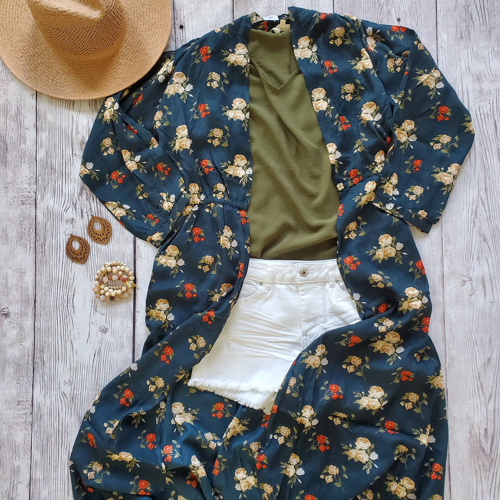 Navy Floral Duster