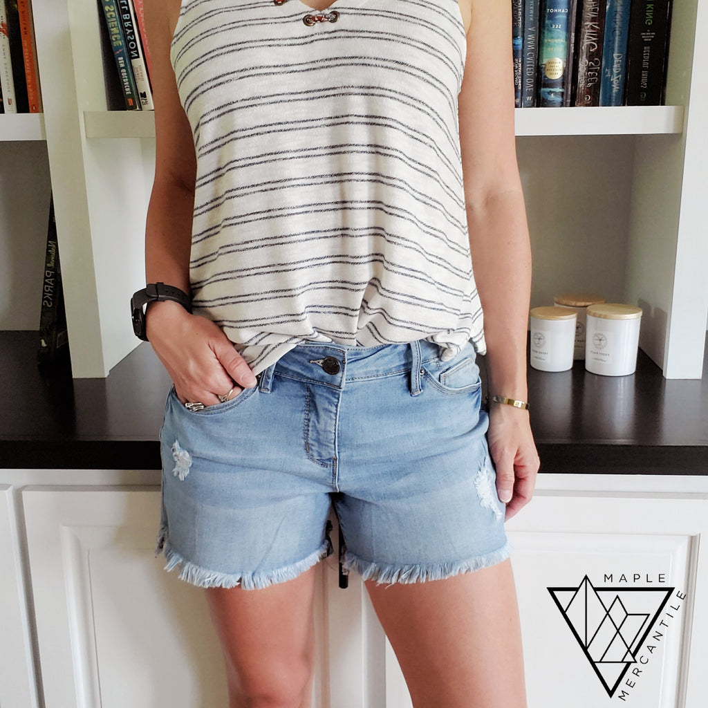 Hi-Lo Frayed Shorts