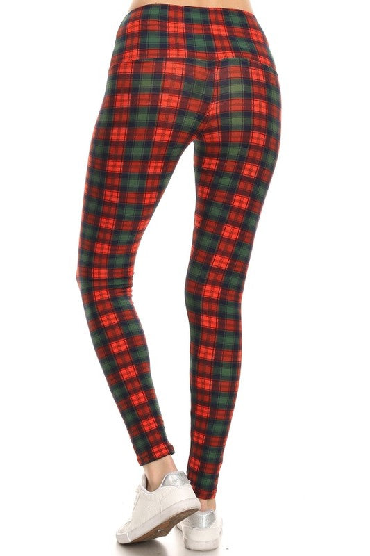 Red + Green Plaid Leggings