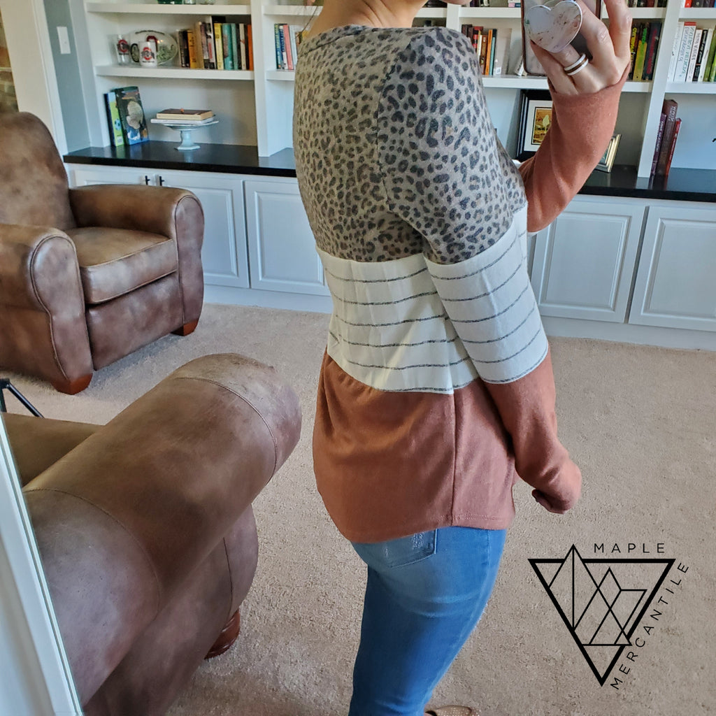 Color Block Leopard Tunic