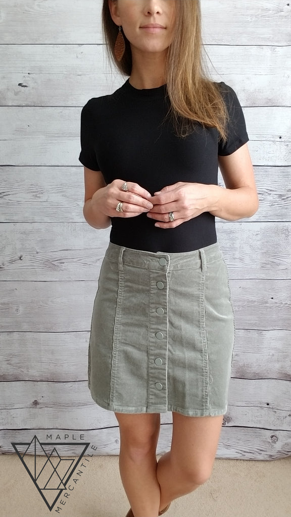 Corduroy Button Down Skirt