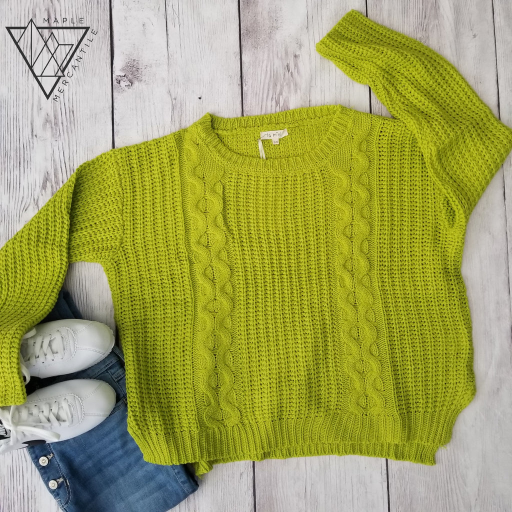 Lime Slouchy Knit Sweater
