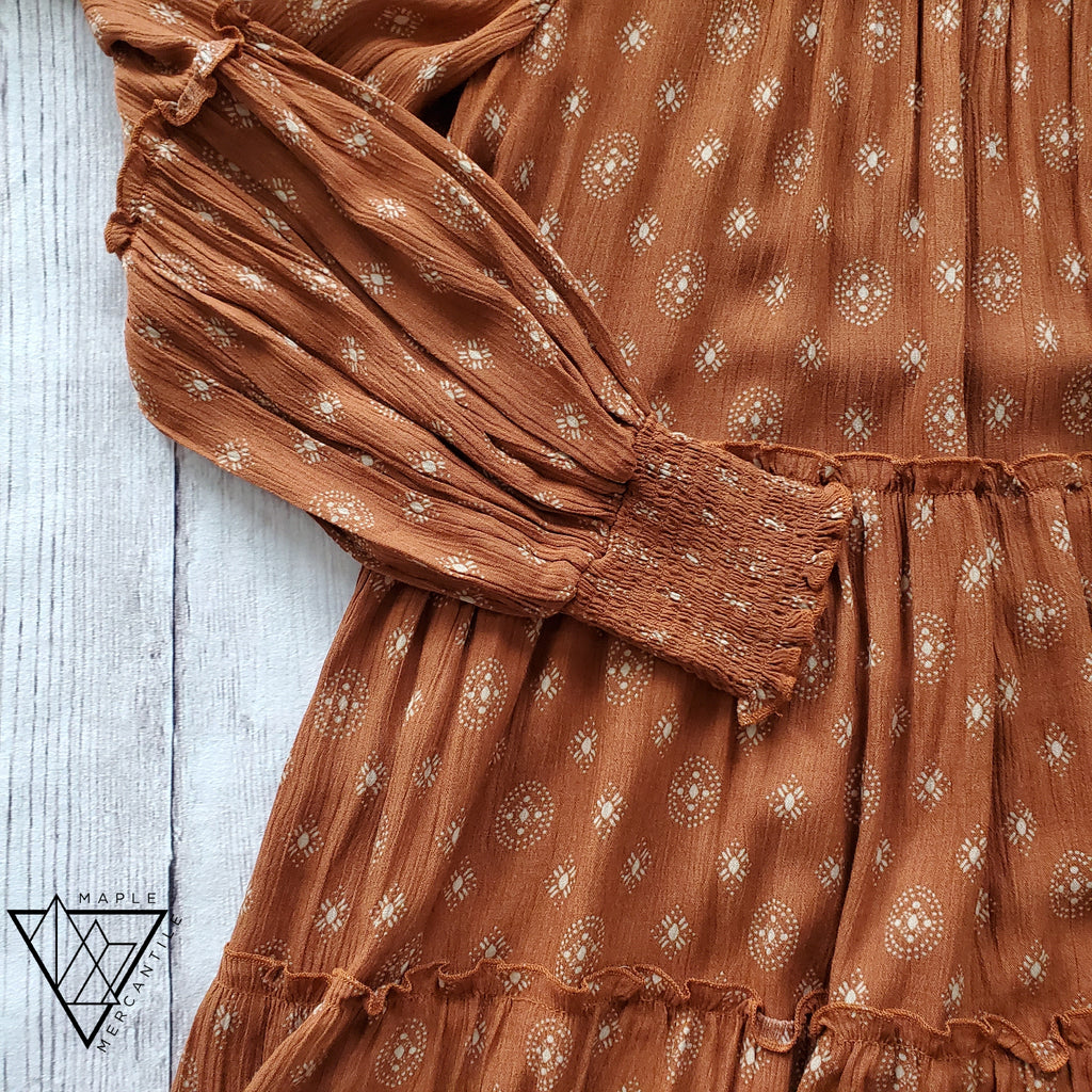 Tiered Rust Peasant Dress