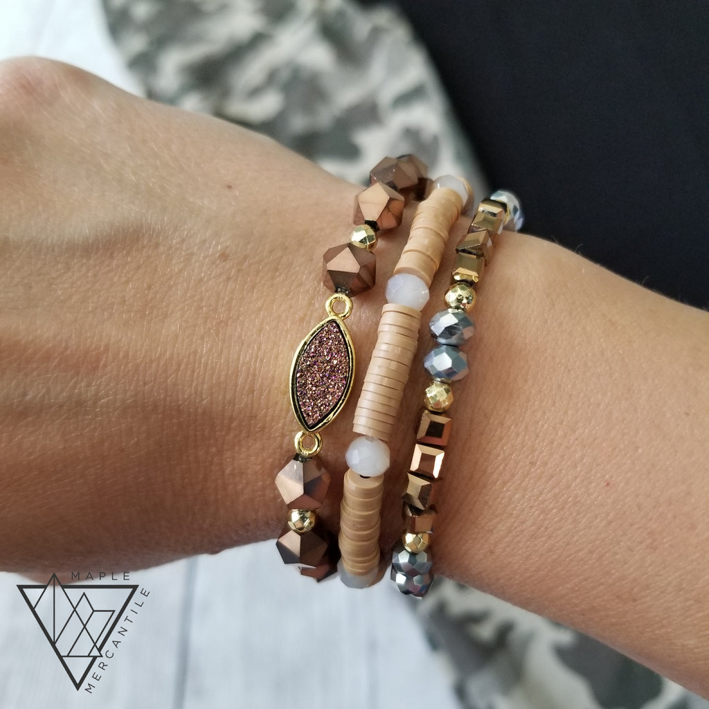 Brown Druzy Bracelet Stack