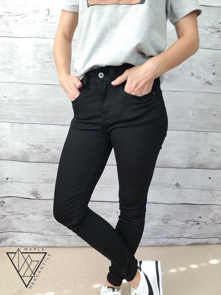 High Waist Skinny Jeans - Black