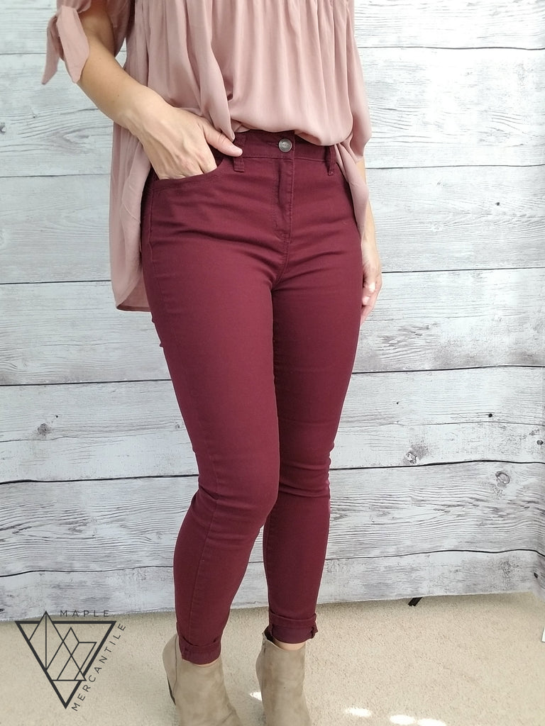 High Rise Burgundy Twill Pants