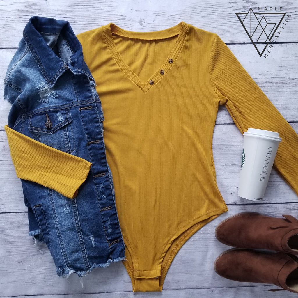 Long Sleeve Mustard Bodysuit