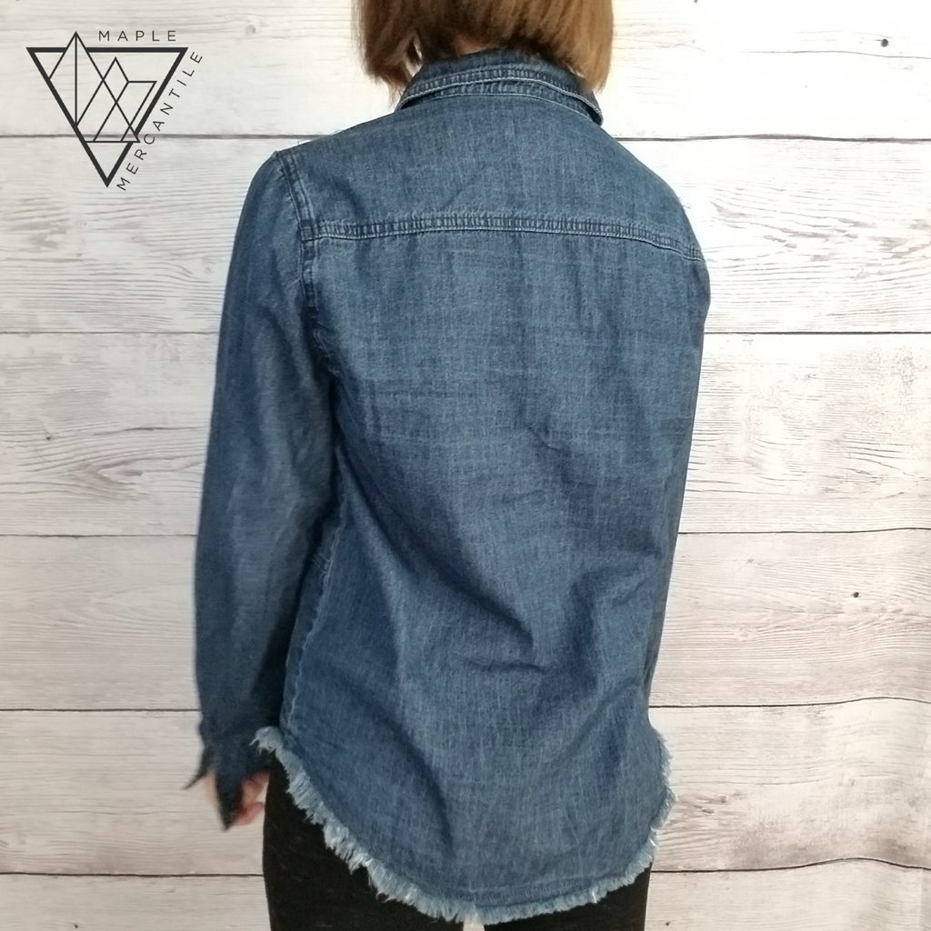 Raw Edge Button Down