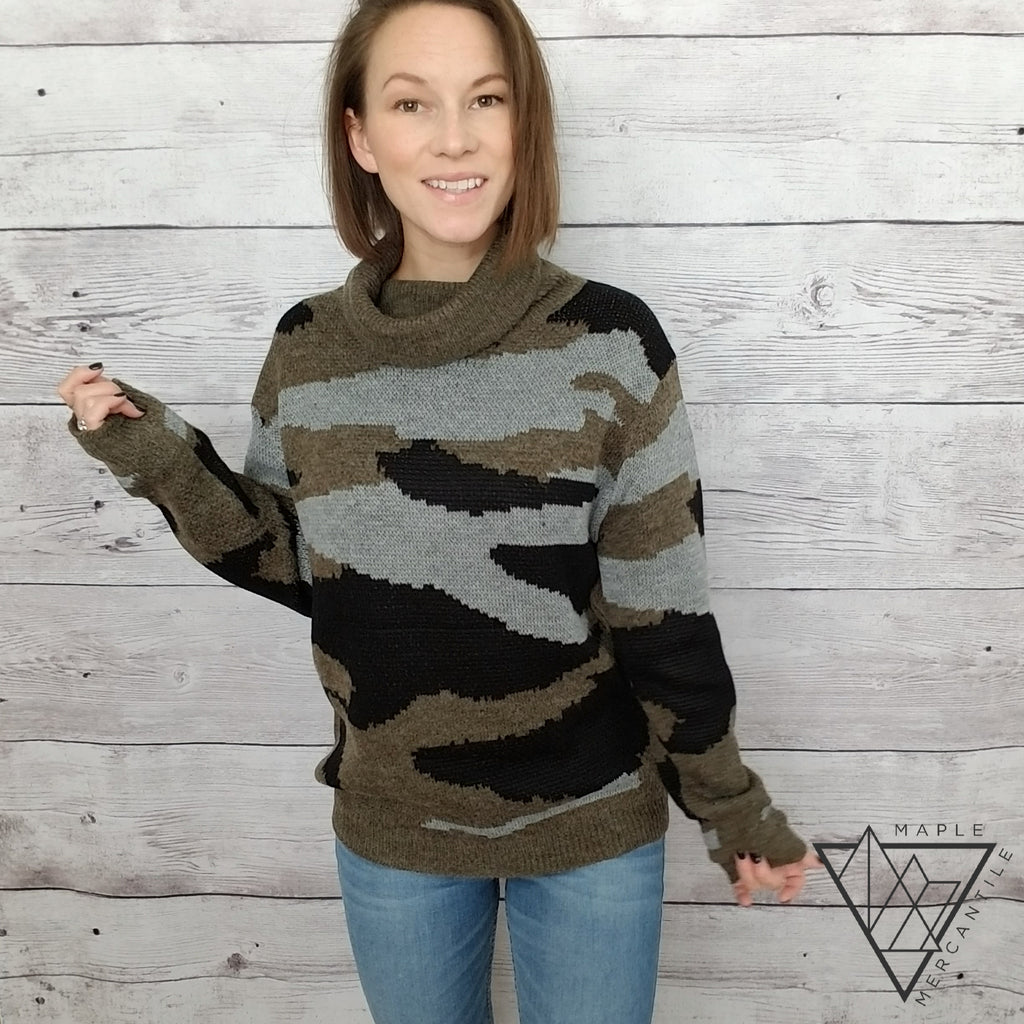 Camo Turtleneck Sweater