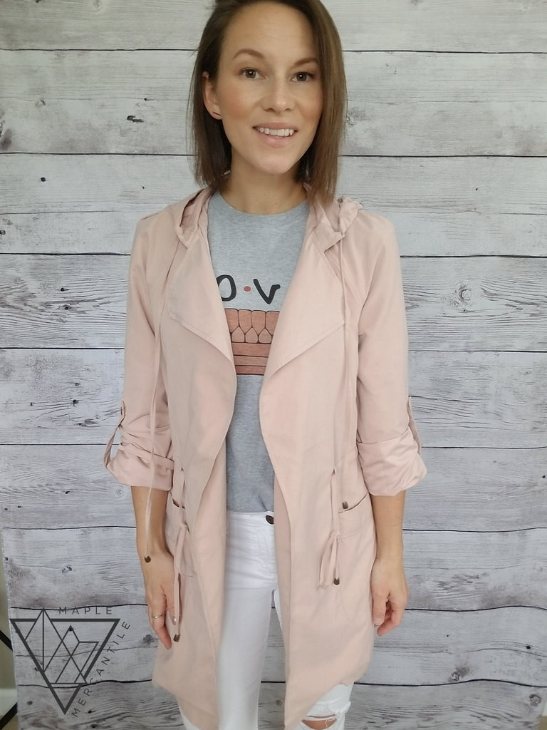 Blush Midi Trench Coat